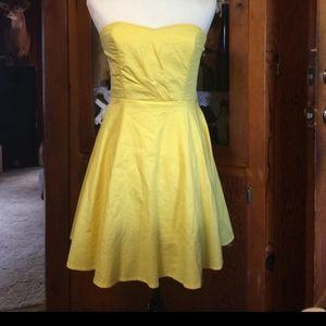 🌻Yellow strapless dress sz m